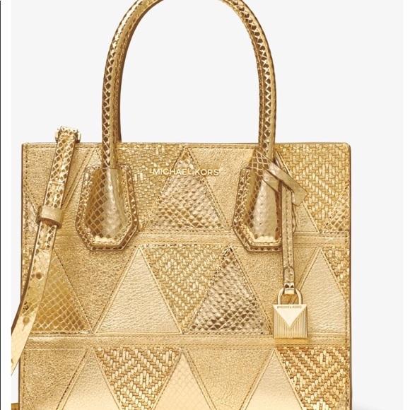Michael Kors Mercer metallic patchwork bag. M 5abf9cf23b1608df54829d35 abca90b0612f1